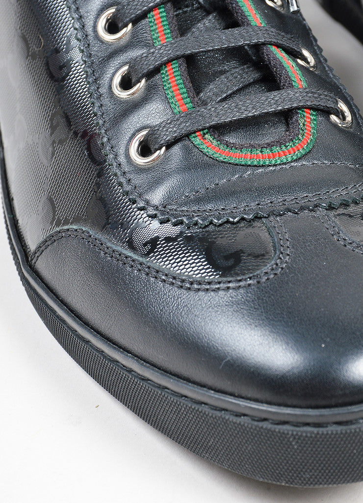 "Black Gucci Leather Canvas ""Barcelona"" GG Monogram Lace Up Trainers Detail"