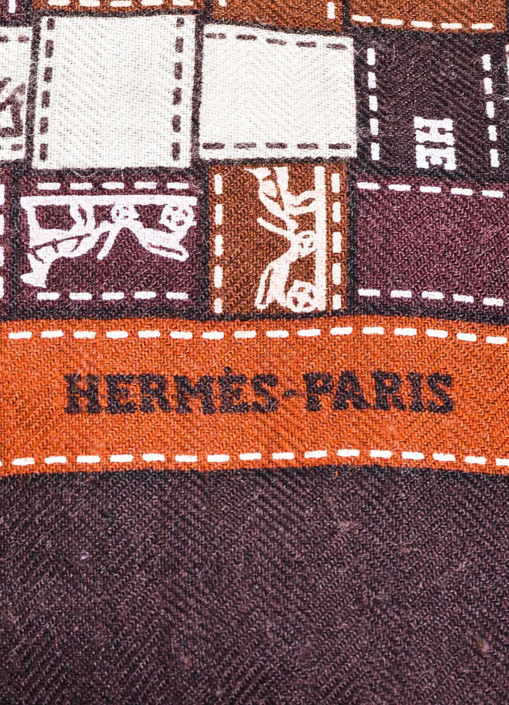 "Brown and White Hermes Patchwork Logo Print ""Bolduc au Carre"" Square Shawl Scarf Brand"