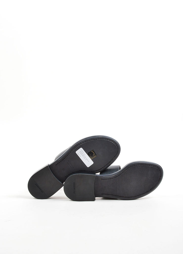 Black Jil Sander Leather Ankle Strap Thong Flat Sandals Sole