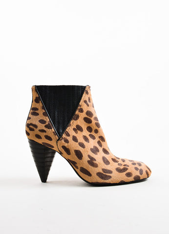 Lanvin Tan and Brown Pony Hair Leopard Print Tapered Heel Boots Sideview