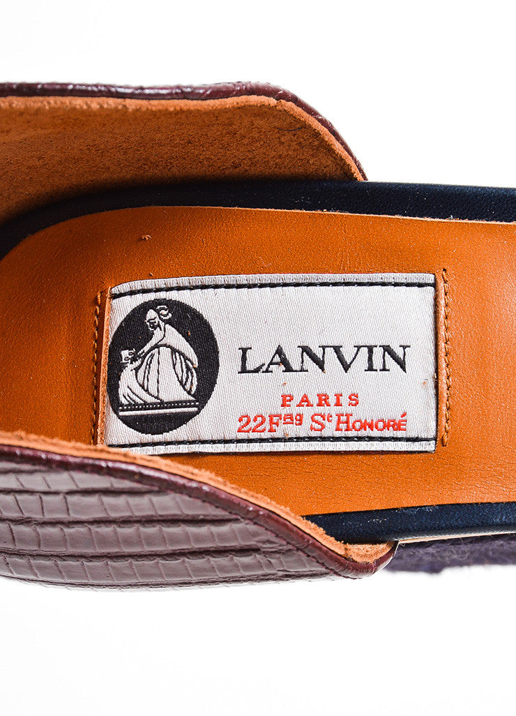 Black and Brick Red Lanvin Lizard and Wood Espadrille Wedge Sandals Brand