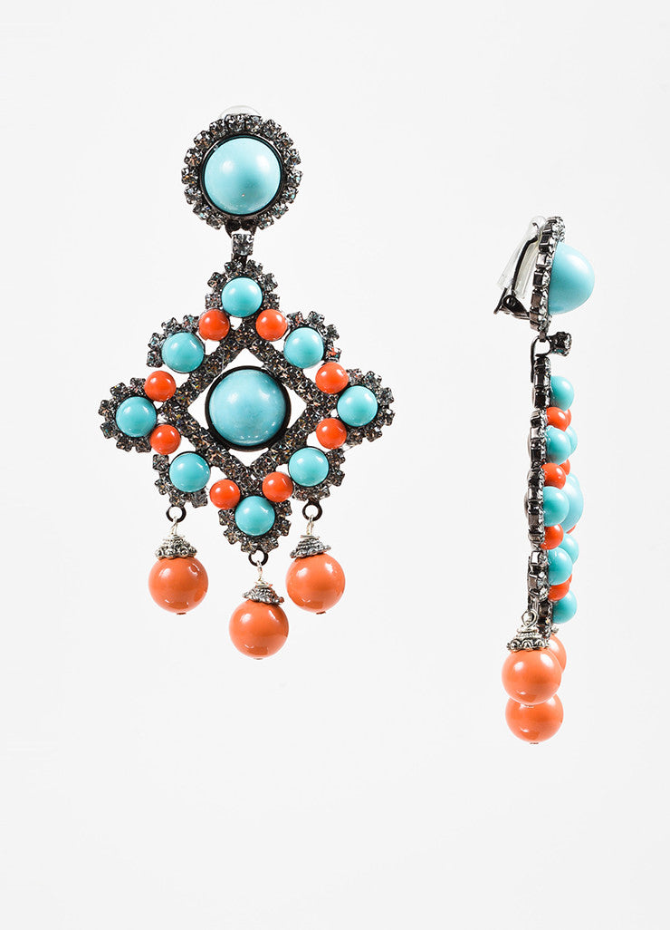 Lawrence Vrba Turquoise and Coral Beaded Crystal Accent Chandelier Clip On Earrings Sideview
