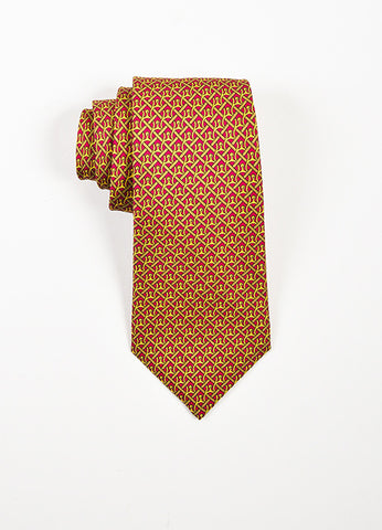 Men's Hermes Burgundy Mustard Yellow Silk Horseshoe Print Necktie Front
