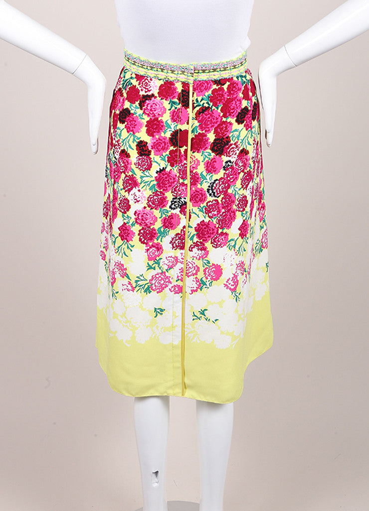 Marc Jacobs New With Tags Multicolor Floral Print Tweed Trim A-Line Crepe Skirt Backview