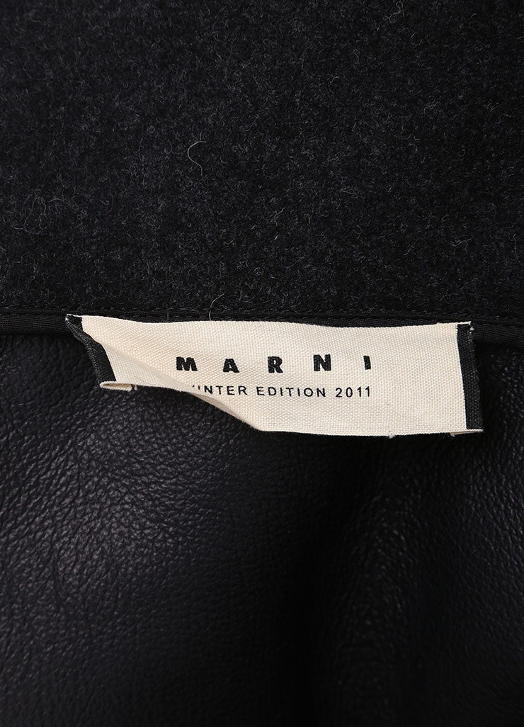 Marni Grey, Cream, and Brown Leather Shearling Fur Coat Brand