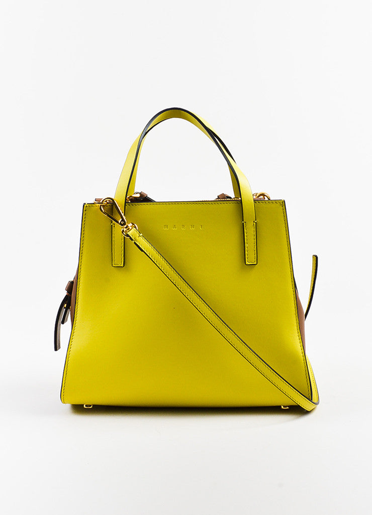 Yellow and Brown Marni Leather Color Block Tote Bag Front