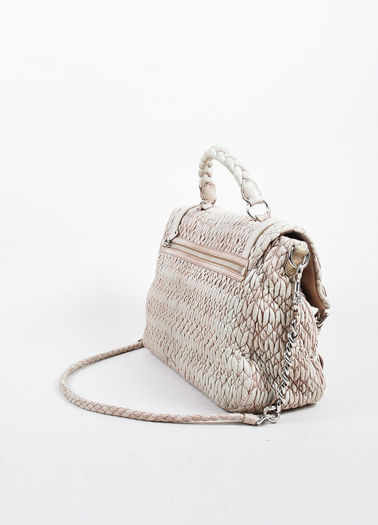 "Beige Miu Miu ""Gaufre"" Nappa Leather Chain Strap ""Large Cloquet"" Satchel Bag Sideview"