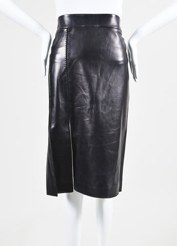 Black Nina Ricci Leather Stitched Pencil Skirt Frontview