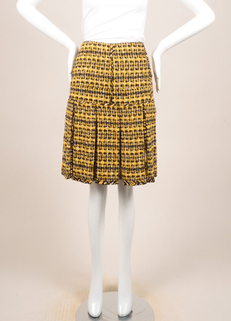 Oscar de la Renta Yellow and Black Wool and Cotton Tweed Pleated Short Skirt Frontview