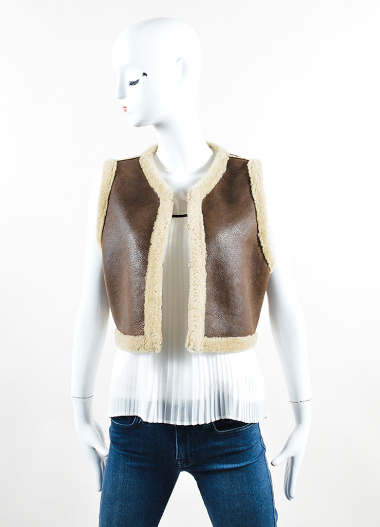 Ralph Lauren Collection Brown Leather Shearling Cropped Vest Frontview