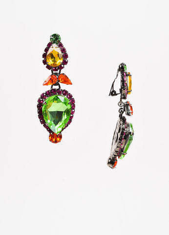 Thorin & Co Timothy Szlyk Green, Pink, and Orange Rhinestone Clip On Drop Earrings Sideview