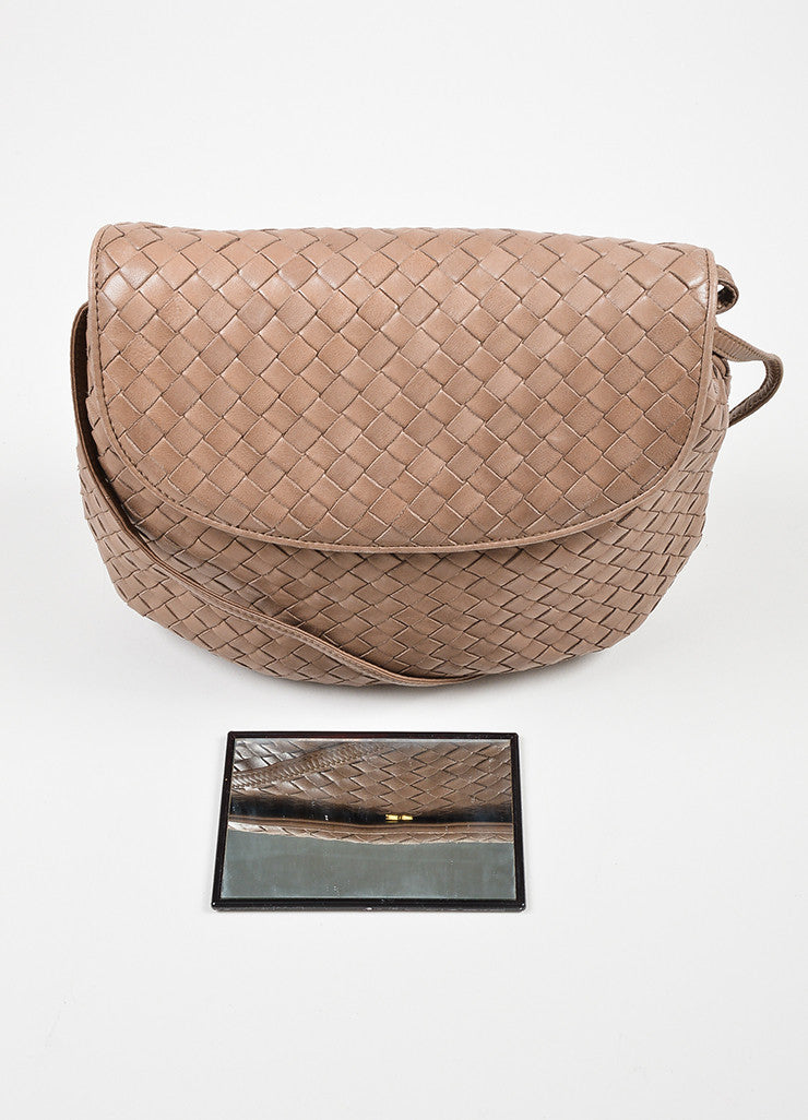 Taupe Bottega Veneta Intrecciato Woven Crossbody Bag Mirror