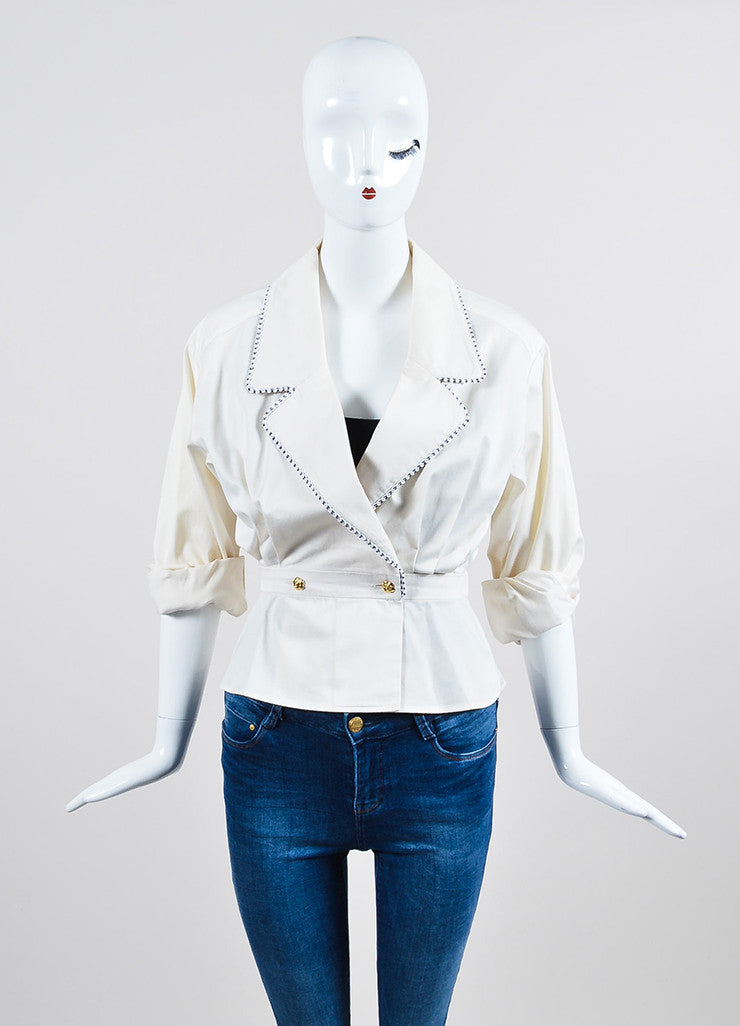Cream and Black Chanel Gold Toned Camellia Button Long Sleeve Blouse Frontview 2