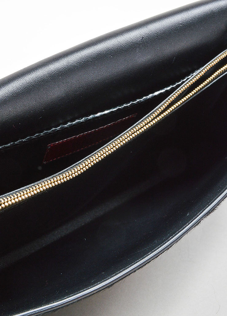 Black Valentino Snakeskin Leather and Pony Hair Rectangle Clutch Bag Interior