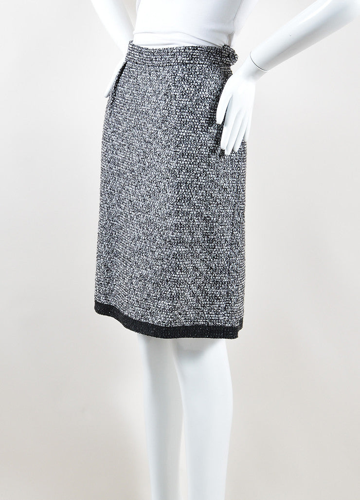 Yves Saint Laurent Black, White and Silver Toned Wool Tweed Pencil Skirt Side
