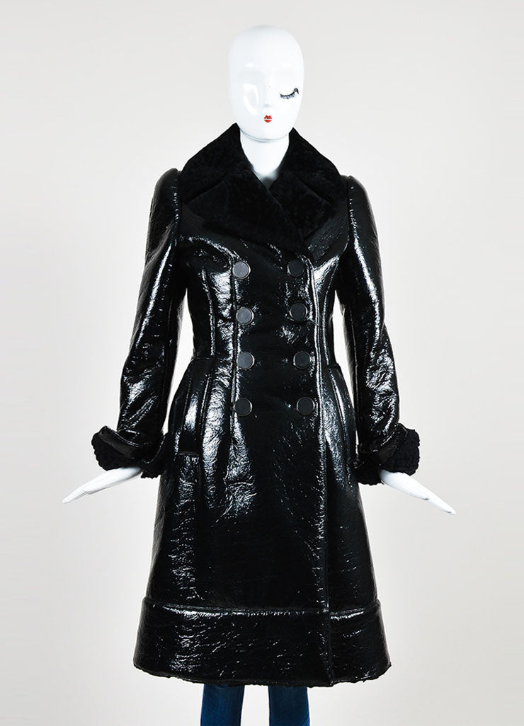 Black Alexander McQueen Cracked Patent Shearling Lined Coat  Frontview 2