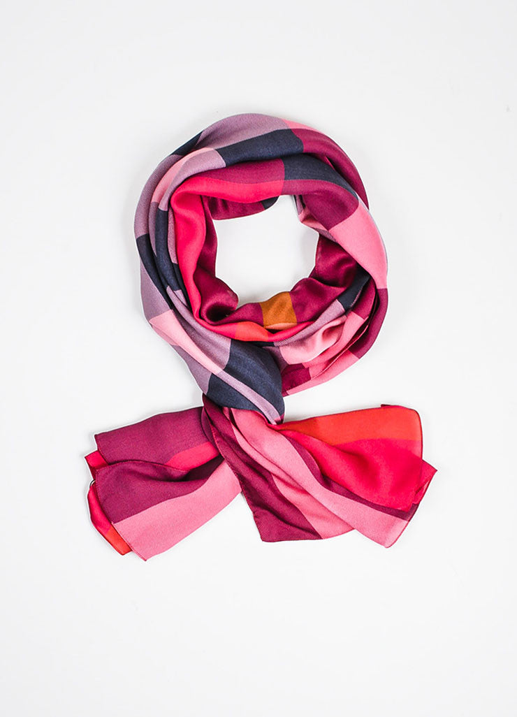 Pink, Black, and Orange Burberry Silk Check Print Scarf Frontview