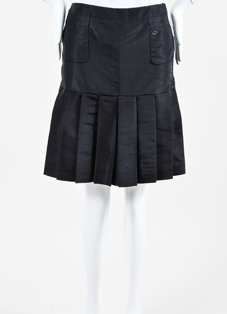 Black Silk Chanel 05A Pleated Mini Skirt Front