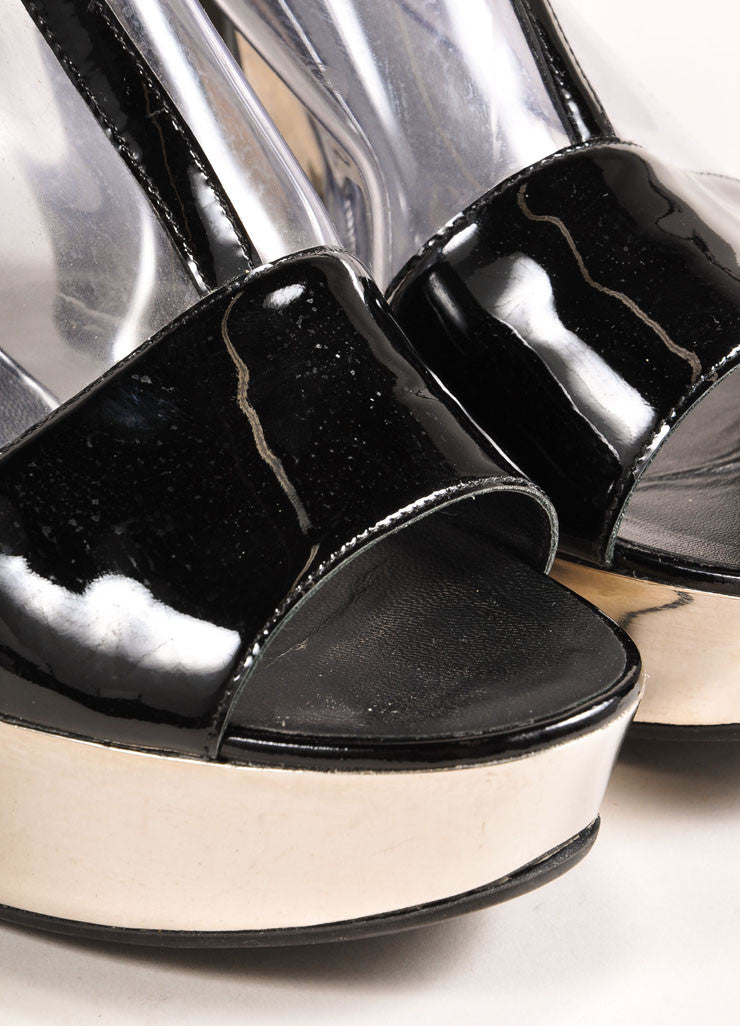 Chanel Black Patent Leather, Clear, and Silver Platform Sandals Detail