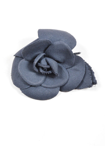 Chanel Black Woven Knit Camellia Flower Brooch Frontview