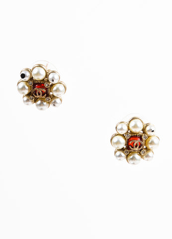 Chanel Cream, Gold Toned, and Red Crystal Faux Pearl and Gripoix 'CC' Baroque Earrings Frontview