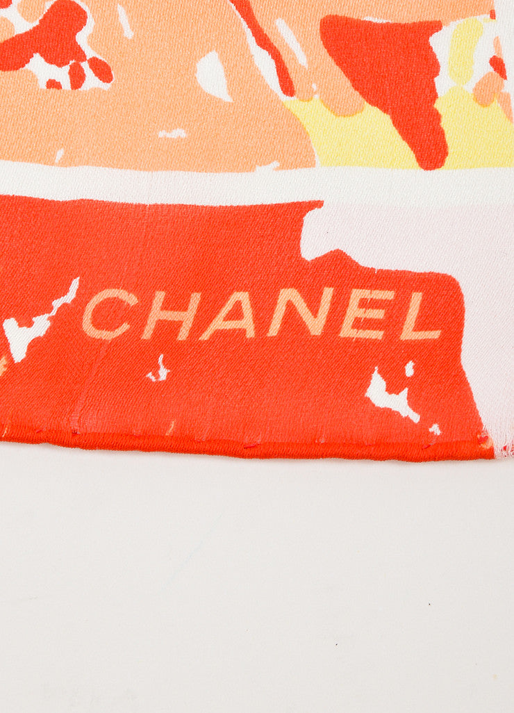 Pink, Coral, and Red Chanel Abstract Floral Small Square Scarf Brand