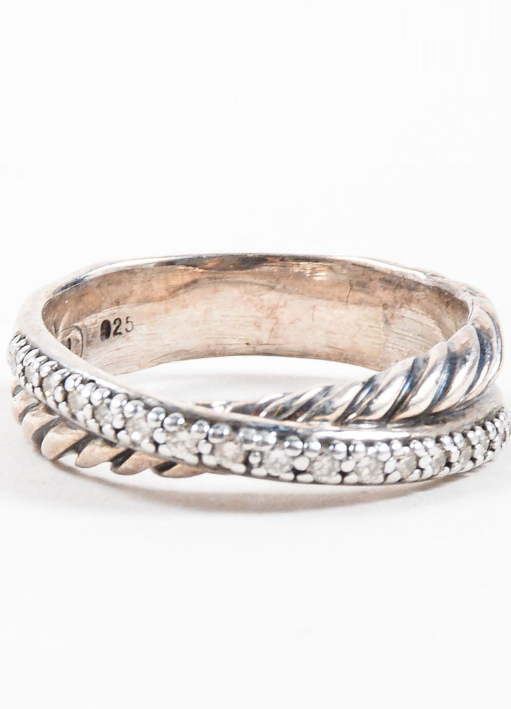 David Yurman Sterling Silver and Pave Diamond Crossover Cable Ring Detail