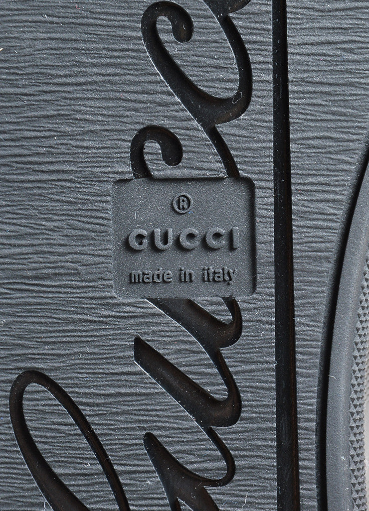 "Black Gucci Leather Canvas ""Barcelona"" GG Monogram Lace Up Trainers Brand"