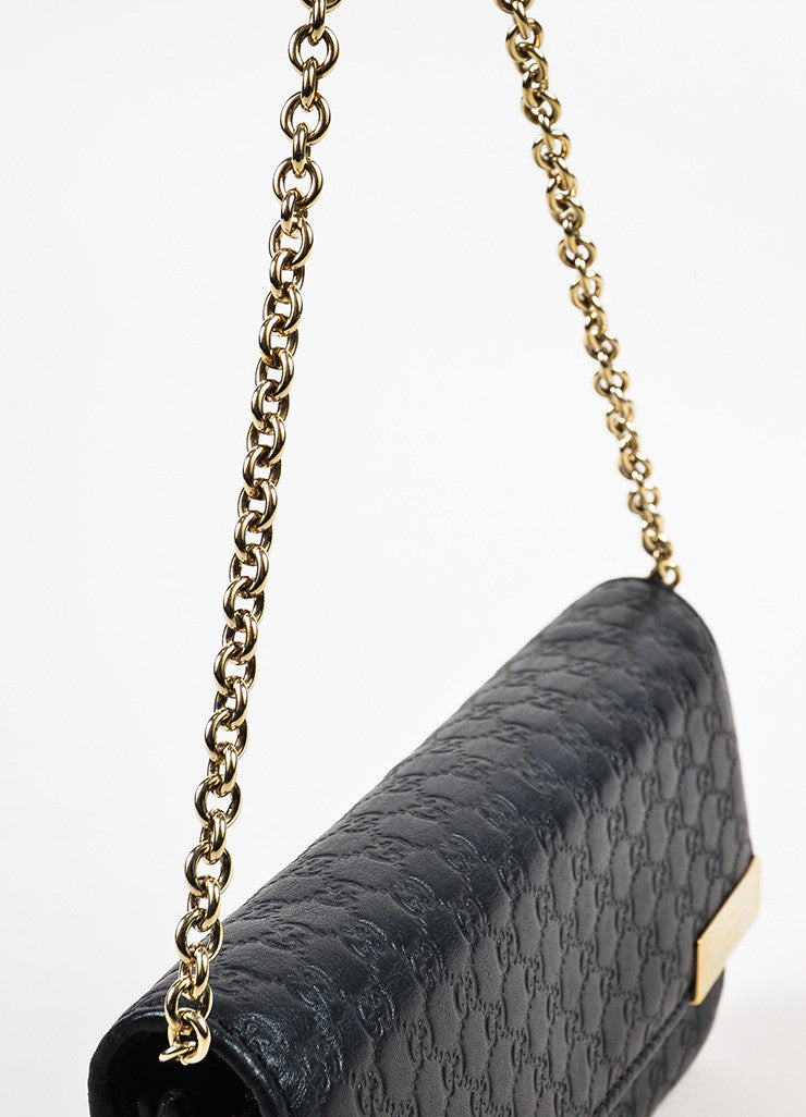 Gucci Black Microguccissima Leather Chain Strap Wallet Detail 3