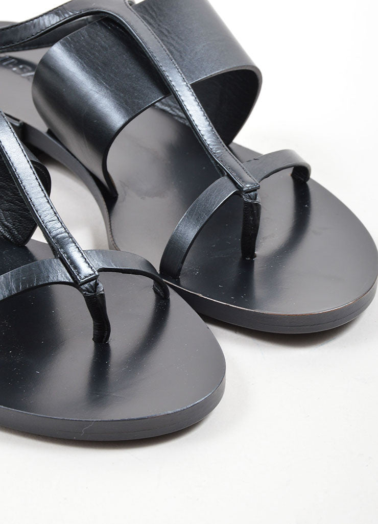 Black Jil Sander Leather Ankle Strap Thong Flat Sandals Detail