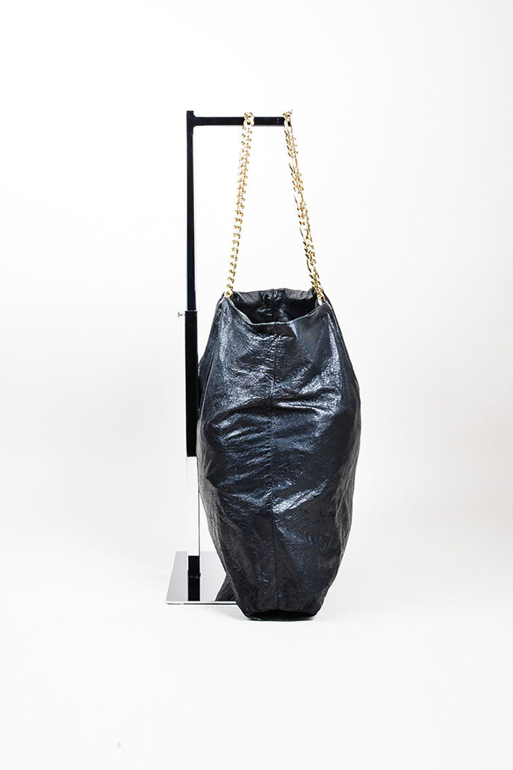 "Black Lanvin Lambskin Leather Chain ""Paper Bag"" Tote Side"