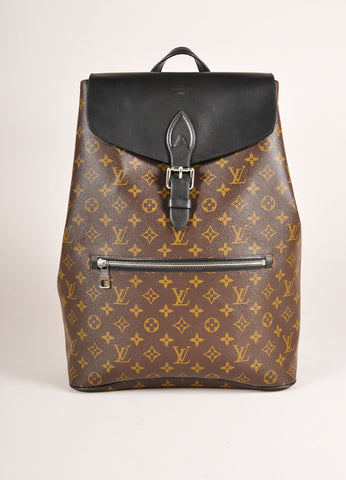 "Louis Vuitton Brown and Black Monogram Macassar Canvas and Leather ""Palk"" Backpack Frontview"