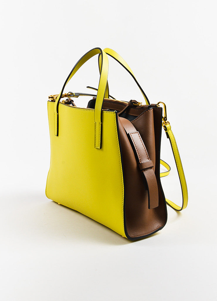 Yellow and Brown Marni Leather Color Block Tote Bag Back