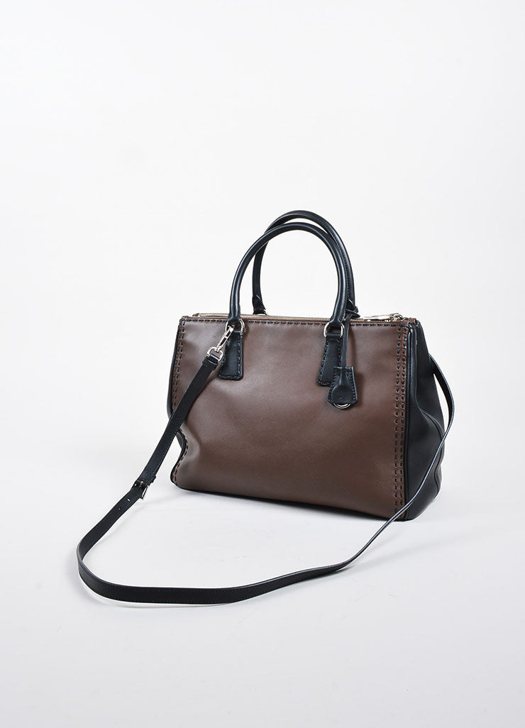 Brown and Black Prada Leather Topstitch City Calf Double Zip Tote Bag Backview