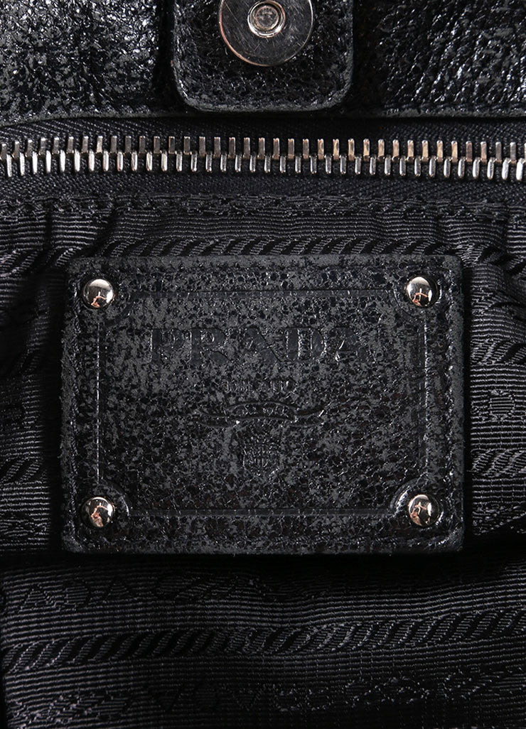 "Prada Black Distressed Leather Metallic Glitter Chain ""Cervo Lux"" Shoulder Bag Brand"
