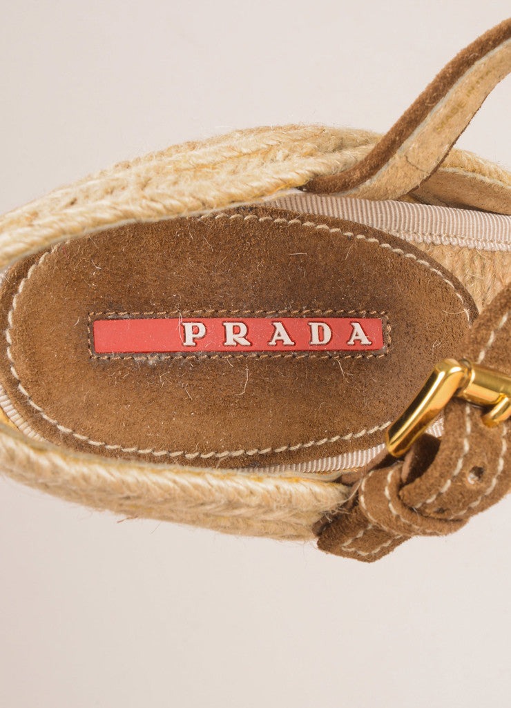 Prada Sport Brown and Tan Suede and Linen Raffia Bow Braided Espadrille Wedges Brand
