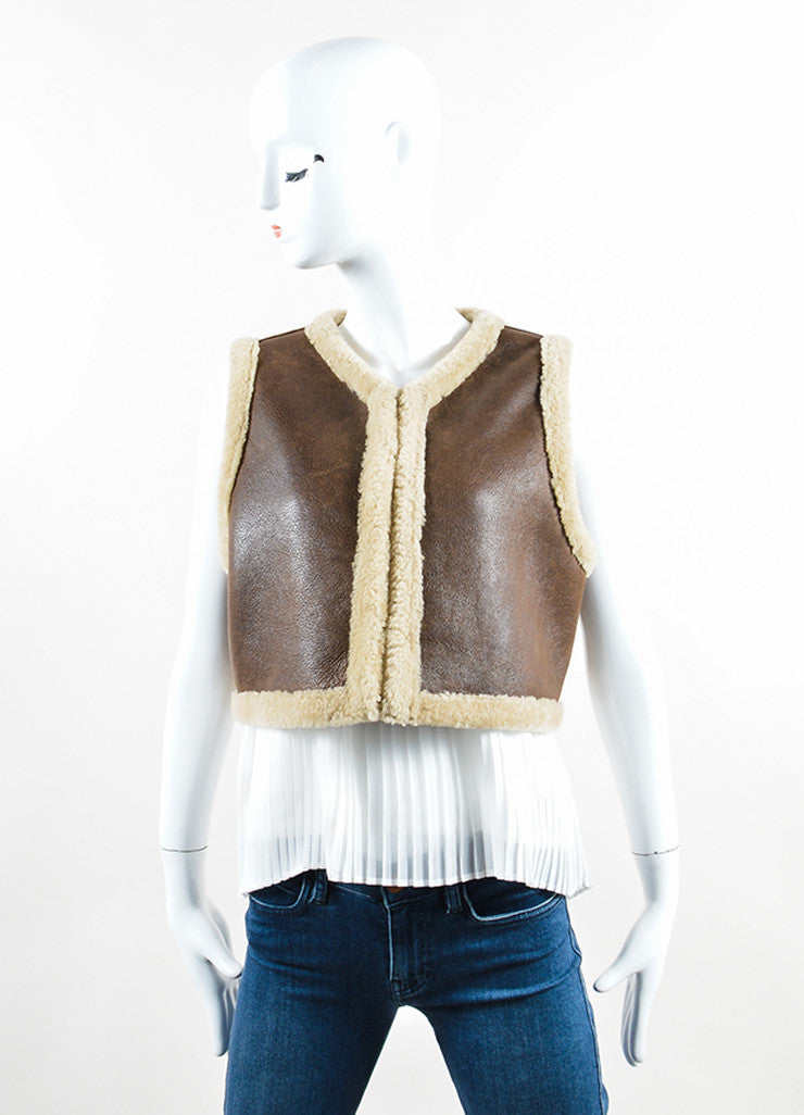Ralph Lauren Collection Brown Leather Shearling Cropped Vest Frontview 2