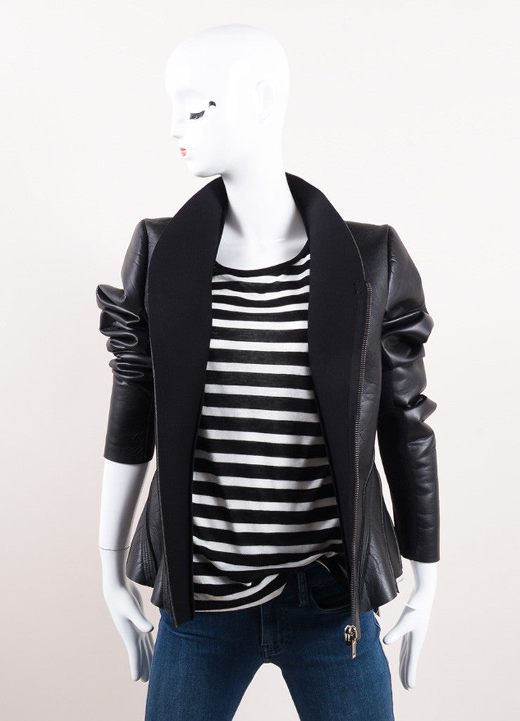 "Rick Owens Black Leather and Neoprene ""Princess"" Jacket Frontview"