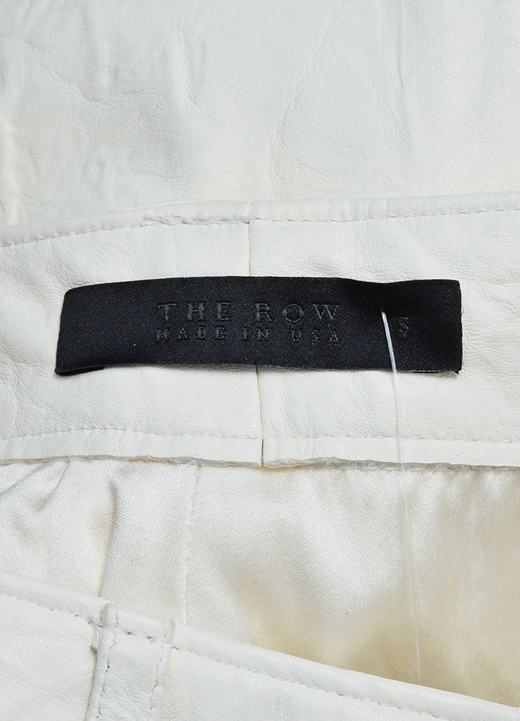 The Row White Lambskin Leather Straight Leg Pants Brand