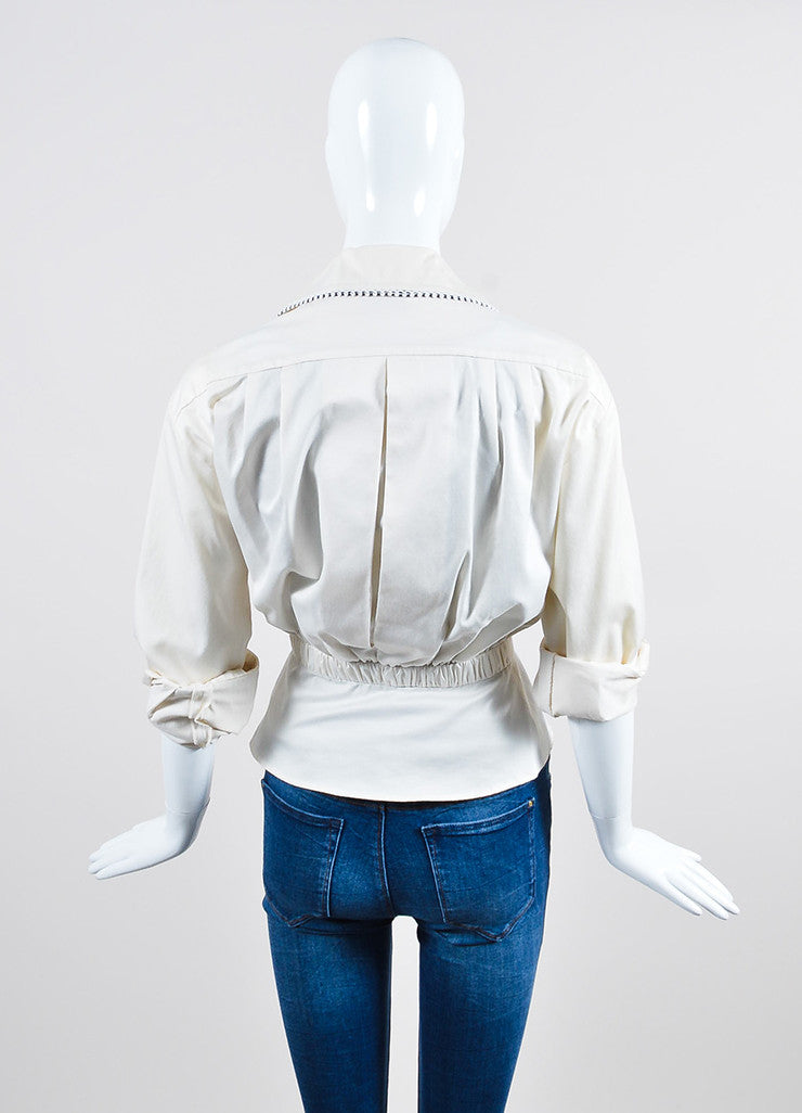 Cream and Black Chanel Gold Toned Camellia Button Long Sleeve Blouse Backview