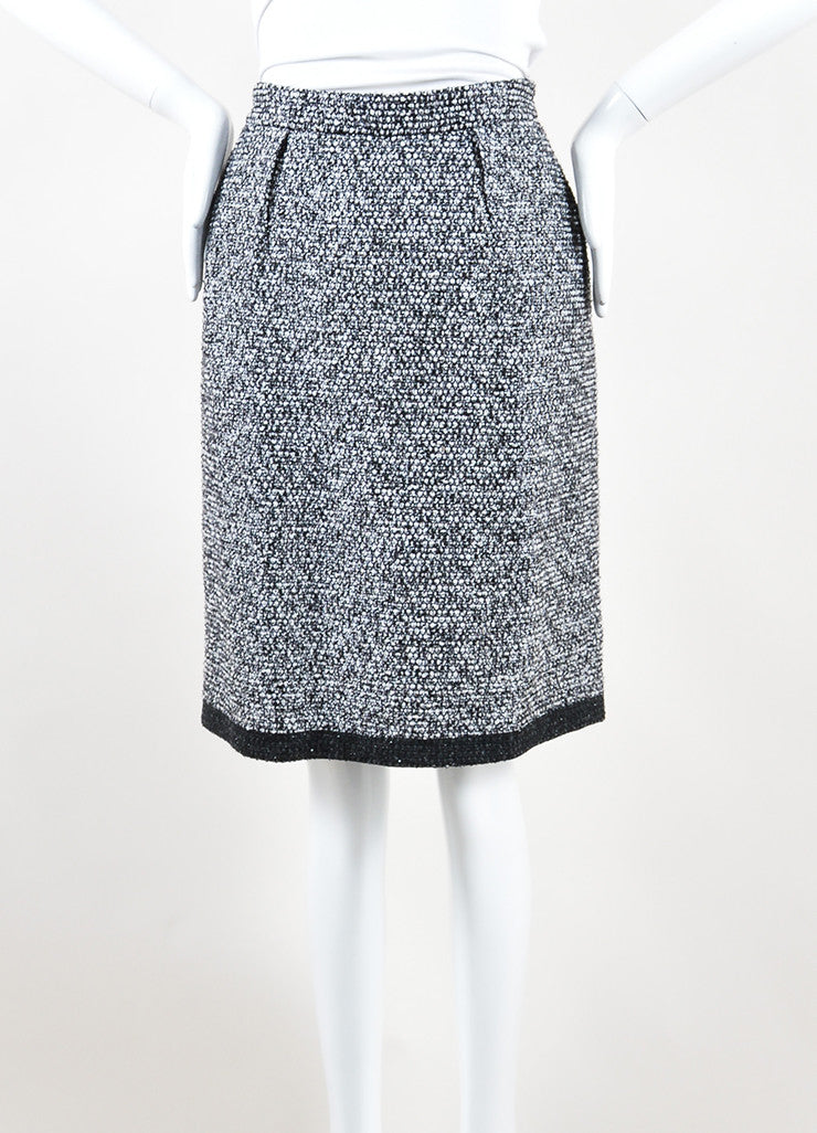 Yves Saint Laurent Black, White and Silver Toned Wool Tweed Pencil Skirt Front