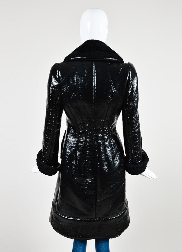 Black Alexander McQueen Cracked Patent Shearling Lined Coat Backview