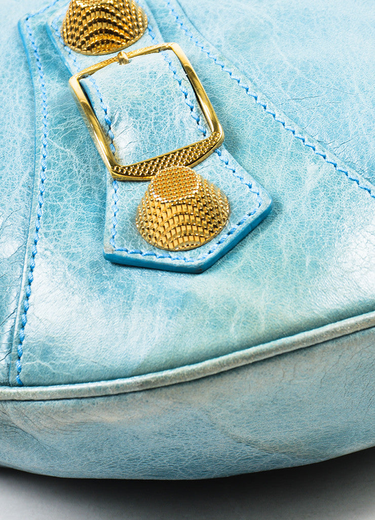 "Balenciaga Light Blue Leather Gold Toned Hardware ""Giant 21 Slim Hobo"" Handbag Detail"