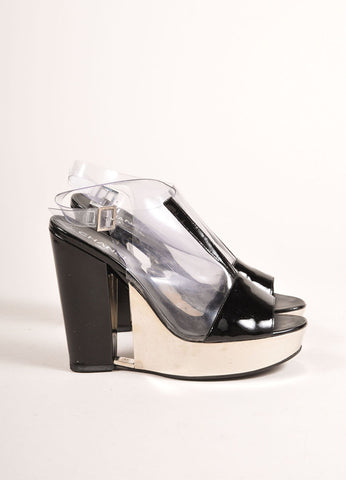 Chanel Black Patent Leather, Clear, and Silver Platform Sandals Sideview