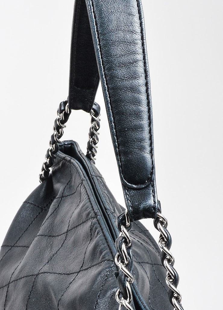 Chanel Black Quilted Leather Fold Over Chain Strap Shoulder Bag Detail 2