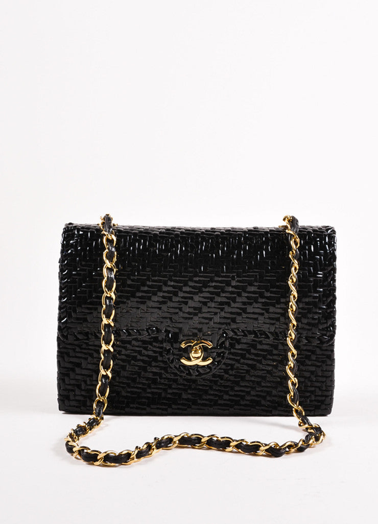 "Chanel Black Woven Straw Rectangular ""CC"" Turnlock Chain Strap Flap Shoulder Bag Frontview"