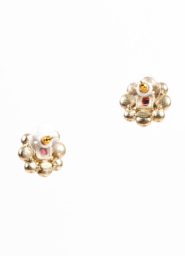 Chanel Cream, Gold Toned, and Red Crystal Faux Pearl and Gripoix 'CC' Baroque Earrings Backview