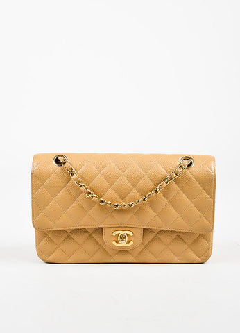 "Chanel Dark Beige Leather Quilted GHW ""Medium Classic Double Flap"" Shoulder Bag Frontview"