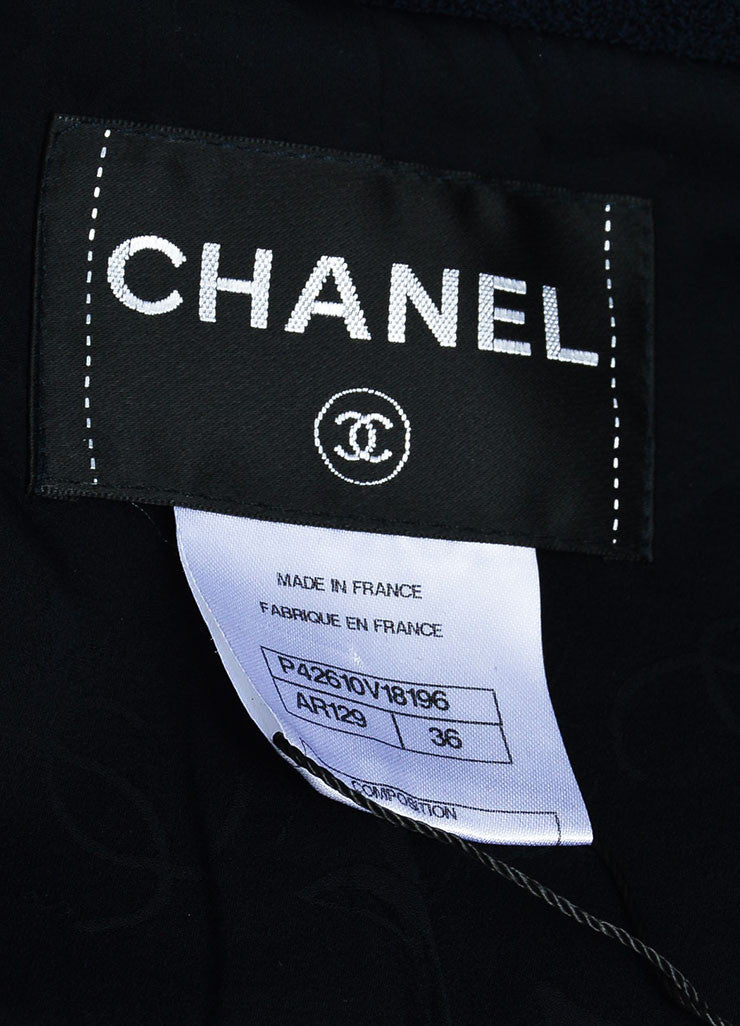 Chanel Navy Blue Wool and Silk Rhinestone Embellished Three Button Jacket Brand