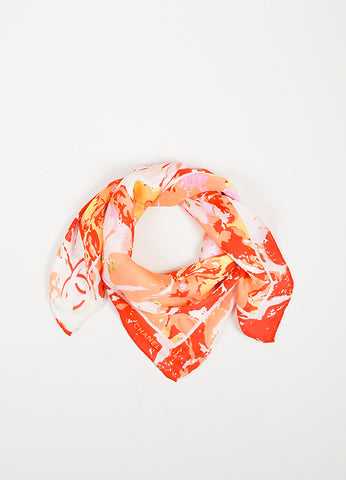 Pink, Coral, and Red Chanel Abstract Floral Small Square Scarf Frontview